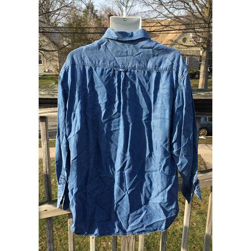 23238689c43 ERMENEGILDO ZEGNA COTTON LYOCELL SHIRT BLUE DENIM LARGE MADE IN ITALY back