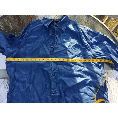 d5303c94070 ERMENEGILDO ZEGNA COTTON LYOCELL SHIRT BLUE DENIM LARGE MADE IN ITALY chest