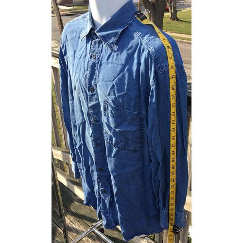 3055cc9c845 ERMENEGILDO ZEGNA COTTON LYOCELL SHIRT BLUE DENIM LARGE MADE IN ITALY sleeve