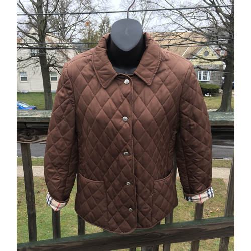 ae6552179c25 burberry dark brown quilted jacket made in england size small. Touch to zoom