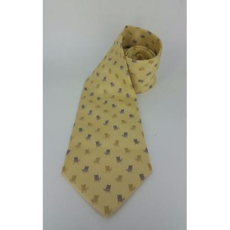 Off Island by Tommy Bahama Yellow Silk Wide Tie Beach Chair 20557 Mens tie