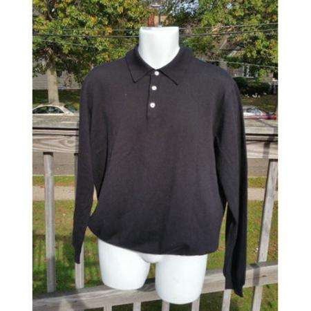 Brooks Brothers Men's Long Sleeve Polo Black Sweater 100% Merino Wool Size L