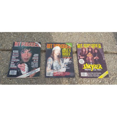Vintage Hit Parader Magazine lot 3.1980's; 90. kiss, Rose's, Lee, Sryper..more