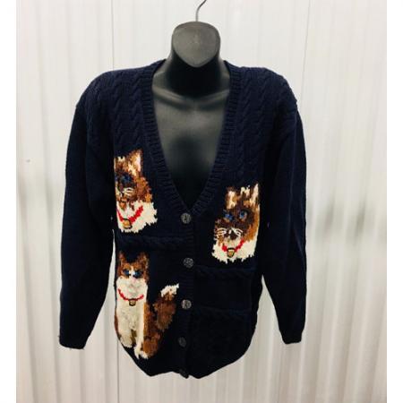 The Eagles Eye Cat Theme English Hand Knit Cardigan Sweater Medium Ugly Sweater