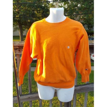 CHAMPION reverse weave sweatshirt Medium Bright Orange 80's 90's Made USA
