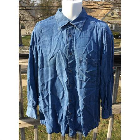 ERMENEGILDO ZEGNA COTTON LYOCELL SHIRT BLUE DENIM LARGE MADE IN ITALY