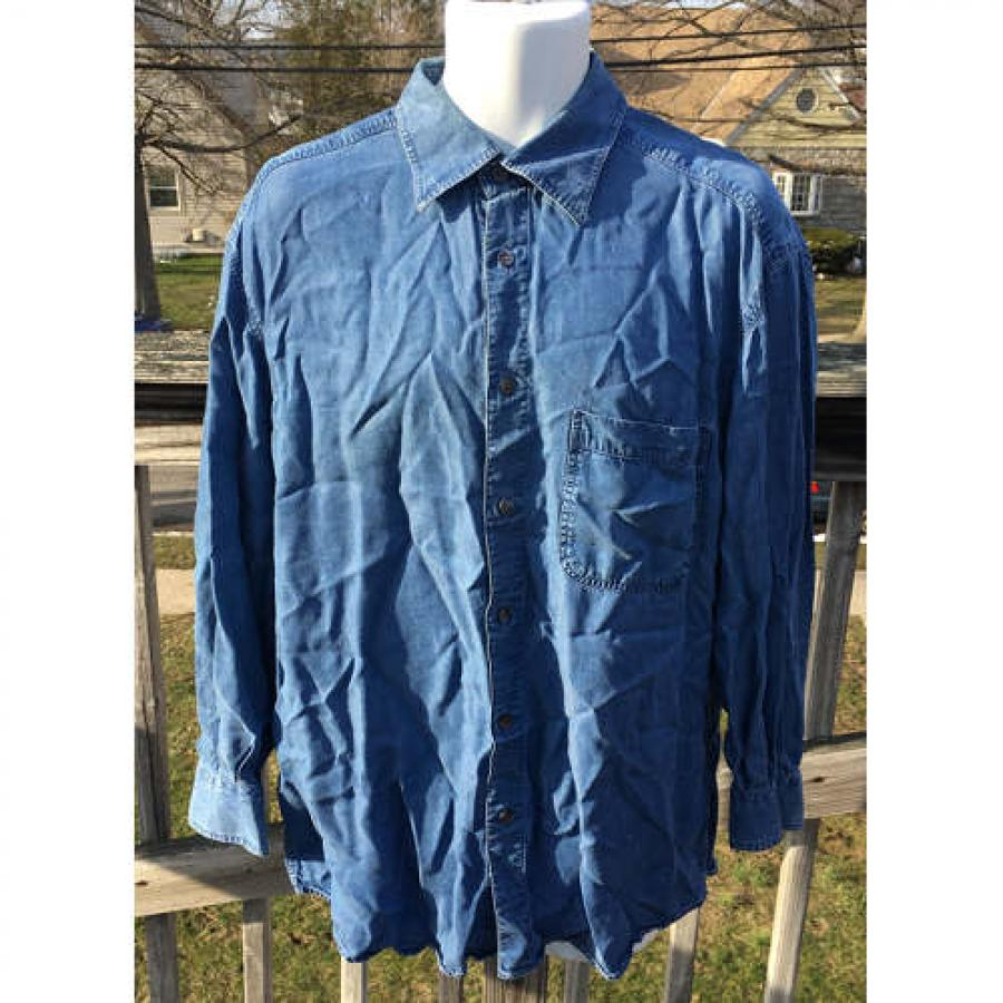 bb287815f3e ERMENEGILDO ZEGNA COTTON LYOCELL SHIRT BLUE DENIM LARGE MADE IN ITALY.  Touch to zoom
