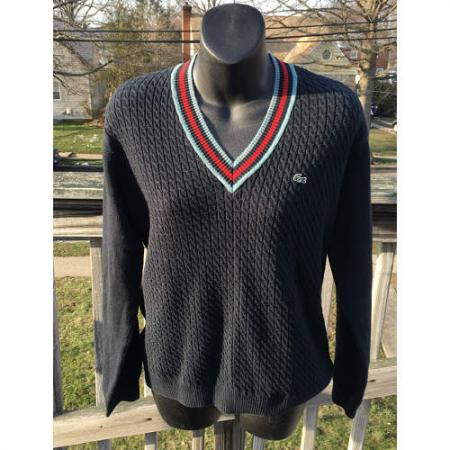 Lacoste V-Neck Sweater Blue Size 46 Made in France