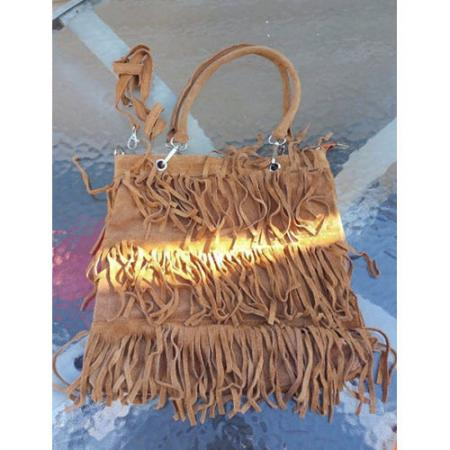 Borse and Pelle Star Fringes suede leather Shoulder handbag made in italy