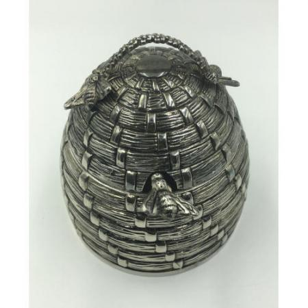 godinger silver plated bee hive honey with server