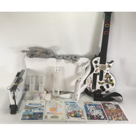 Nintendo Wii Bundle : RVL-001 White Guitar Hero