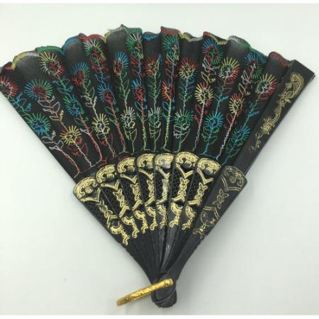 Asian Embroidery Cloth Fabric Plastic Folding Hand Fan