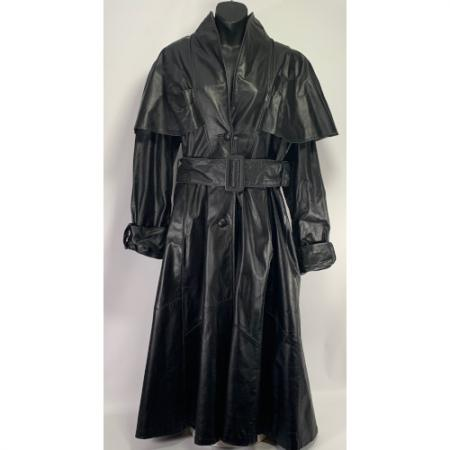 G3 Leather Fashion Caped Leather Trench Coat RN 54163