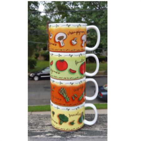 Set of 4 stackable MSC by Jocha mugs/bowls
